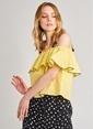 Agenda Volan Detaylı Bluz Sarı